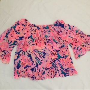 Lilly Pulitzer Off The Shoulder Ruffle Top